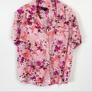 Erika Vintage Pink Purple Floral Camp Shirt SZ XL